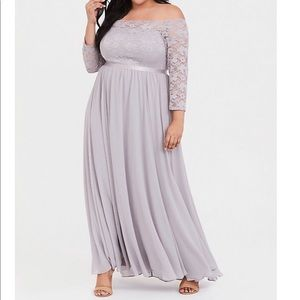Torrid Special Occasion lilac lace gown